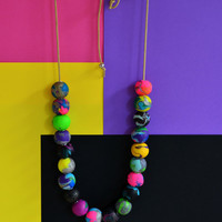 Colorful bead necklace/polymer clay necklace/artistic necklace/OOAK necklace/unique necklace/special necklace/ball necklace/multicolored