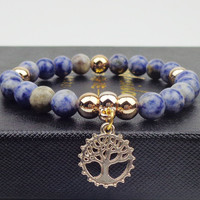 Natural stone with tree Bracelets gold plated Bangles Elastic Rope Chain Friendship Bracelets For Women and Men Jewelry