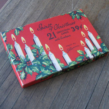 Original  Midcentury Christmas Card Box with 4 Unused '50s Christmas Cards - Red Christmas Gift Box- Christmas Bell, Sleigh, Candle Cards
