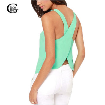 Lace Girl  Summer Women Blouses Strapless Candy Color Shirts Sexy Backless Strap Chiffon Blouse Crop Tops Ladies' Vest