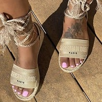Dior CD Fashion Sexy Ladies Shoes Personalized Woven Lace Sandals-1
