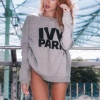 "Hot Sale Beyonce's ""ivy park"" letters sweater Grey"