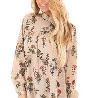 Beige Floral Print High Neck Blouse with Keyhole Back