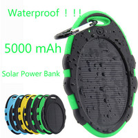 5000mAh Waterproof Solar Power Bank Dual USB Backup External Battery Charger for iPhone Samsung HTC Huawei Cell Phones