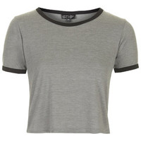 Contrast Trim Cropped Tee - Grey