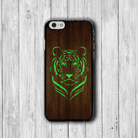 Mint TIGER Face Drawing Hipster Wood iPhone 6 Cover, iPhone 6 Plus, iPhone 5 / 5S iPhone 5C Cases iPhone 4/4S Accessory Green Wild Animal