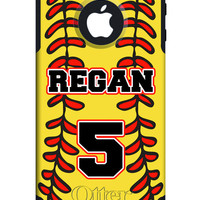 OTTERBOX COMMUTER iPhone 5 5S 5C 4/4S Case Custom Softball Mom Dad Yellow Ball Stitching Name Number Personalized Monogram