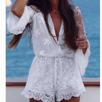 PEAPIH3 FASHION PERSPECTIVE LONG SLEEVE LACE ROMPER PLAYSUIT
