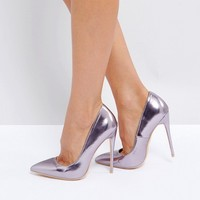 Lost Ink Wide Fit Lilac Metallic Court Shoes at asos.com