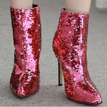 Explosive hot sale fashion rainbow sequined high heels shoes