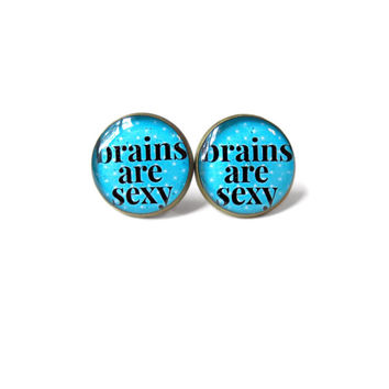 BRAINS ARE SEXY Stud Earrings - Funny Nerdy Pop Culture Jewelry