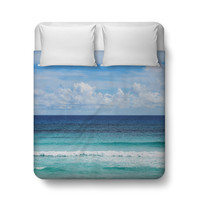 Playa Bonita - Duvet Cover, Coastal Ocean Style Blue Ombre Bedding, Beach Surf Bedroom Decor Bed Blanket Throw Cover in Twin Full Queen King