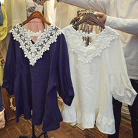 Astilbe Lace Top in Navy