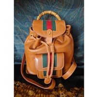Vintage Gucci brown leather sherry line backpack. Sophisticated casual backpack