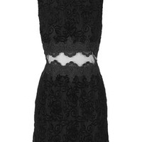 Flock Sheer Lace Panel Dress - Black