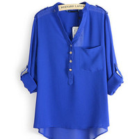 SIMPLE - Fashionable Royal blue Pocket Comfy Chiffon Loose V Neck Women Casual Top blouse b4014