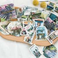 45pcs/box Travel Scenery Cartoon Stickers Adhesive Stickers DIY Decoration Stickers Stationery Stickers Escolar Papelari