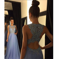 Elegant Lace Prom Dresses with Beadings