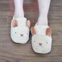 FunShop Women's Rabbit Shape Light Brown Indoor Slipper D1117