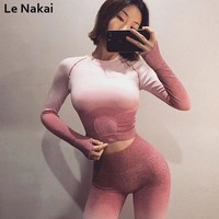 Le Nakai High stretchy Ombre Seamless gym crop top workout shirts for women long sleeve fitness yoga top orange sports shirt