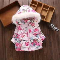 BibiCola winter baby girls jackets girls hooded snowsuits infant girls thick down parkas warm jackets fashion outerwear clothes