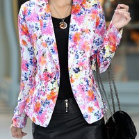 Casual Notch Lapel Decorative Button Floral Printed Blazer