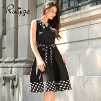 2017 RUIYIGE New Arrival Women Vintage Plus Size Dot Elegant Formal Office Evening Party Sexy Vestitos Elbise Summer Dress