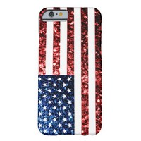 USA flag red blue sparkles glitters iPhone 6 Case by PLdesign