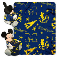 Michigan Wolverines NCAA Mickey Mouse with Throw Combo