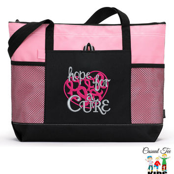 Personalized Hope for a Cure Breast Cancer Awareness Zippered EmbroideredTote Bag with Mesh Pockets, Beach Bag