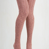 Vintage Inspired Carte Banff Thigh Highs in Rose Size OS by ModCloth