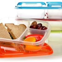 """EasyLunchboxes 3-compartment Bento Lunch Box Containers """"Classic"""" (Set of 4). BPA-free. Easy-open Lids (Not Leakproof). For Kids and Adults. Work or School Lunches:Amazon:Kitchen & Dining"""