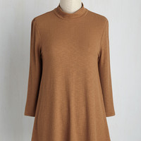 Curious Commentary Top in Caramel | Mod Retro Vintage Short Sleeve Shirts | ModCloth.com