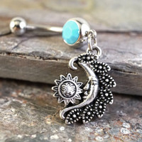 Turquoise Moon and Sun Belly Button Jewelry Ring