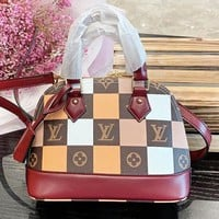 LV Louis Vuitton New fashion monogram tartan leather shoulder bag women handbag