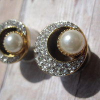 """One of a Kind VINTAGE Pair of Gold, Rhinestone, & Pearl Moon Tunnels -Formal Plugs-Bridal-Wedding- 1/2"""", 9/16"""", 5/8"""" (12mm, 14mm, 16mm)"""