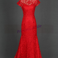 Stunning long rec lace prom dresses hot,Chinese collar wedding gowns in custom colors,affordable elegant women dress for evening party.