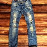 Cropped Roll Cuffed Jeans