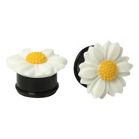 Acrylic White And Black Daisy Saddle Plug 2 Pack