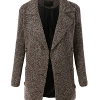 LE3NO Womens Oversized Double Breasted Peacoat Jacket with Pockets