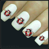Christmas Nail Decal Santa Nails 20 Water slide Decals Stocking Stuffers