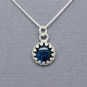 Blue abalone sterling silver necklace, vintage style crown setting 8 mm pendant, organic jewelry, paua shell