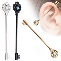 1 PC Fashion Key Style  Ear Industrial Barbell Scaffold Bar Barbell Piercing Cartilage Eearring Body Jewelry Industrial Piercing