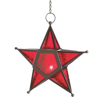 Red Glass 5 Pointed Star Moroccan Style Candle Lantern