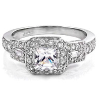 Sterling Silver Halo CZ Princess Cut Engagement Ring Three Stone size  4-11