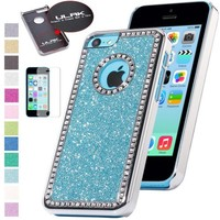 iPhone 5C Case, iPhone 5C cases, iPhone 5c cover, ULAK Luxury Bling Glitter Crystal Rhinestone Chrome Plastic Hard Case Cover for Apple iPhone 5C with Screen Protector (Light Blue)