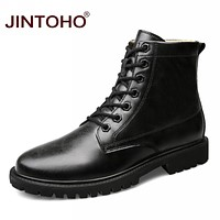 Men Ankle Boots Fashion Genuine Leather Winter Men Shoes Quality Real Leather Shoes For Men Booties