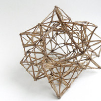 Beige geometric sculpture - minimalist singed fabric sculpture, unique gift, home decor, polyhedron, abstract faceted sculpture, fractals