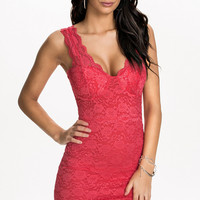 Pink Floral Lace Sleeveless V-Neck Bodycon Mini Dress