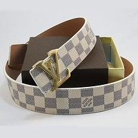 Perfect LV Woman Men Fashion Smooth Buckle Belt Leather Belt mieniwe?